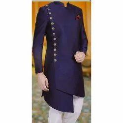 Party Wear Plain Mens Blue Indo Western Coat, Size: 34 - 44