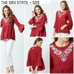 Ladies Embroidered Red Top