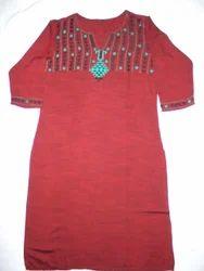 MERAKI grey and orange Hand Made Embroidery Kurti, 16-40