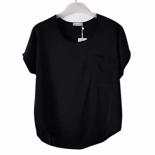 6f7a97d6e0518 Black Casual Ladies Plain Top