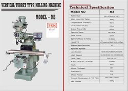 PKM Cast Iron And Mild Steel Vertical Milling Machine, Model Name/Number: M-3