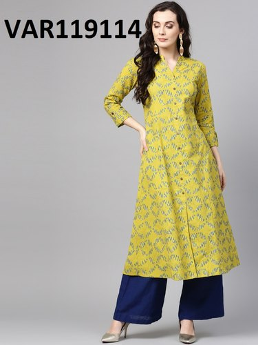 Yellow Casual Wear Pure 100% Cotton Printed Kurtis, Size: S