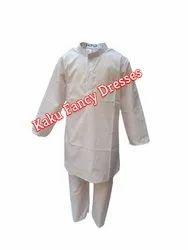 Polyester Unisex White Kurta Pajama