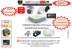 Hikvision 2 Camera Kit CCTV Offer( 2mp Camera), For Outdoor Use