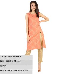 Peach Rayon Gold Print Kurta