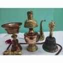 Buddhist Puja Copper Water Ewer Bell And Diya Lamp Set
