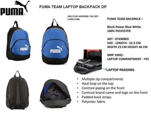 11319453732a Puma Black Blue Red Team Laptop Backpack Art 07494802