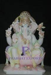 Marble Lord Ganesha Statue On Lotus