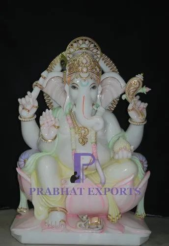 Marble Lord Ganesha Statue On Lotus