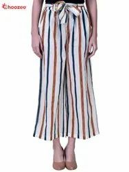 Gorgy Women Smart Stripped Culottes (with Belt)
