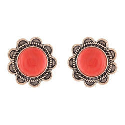Ganapathy Red Stone Stud Earrings