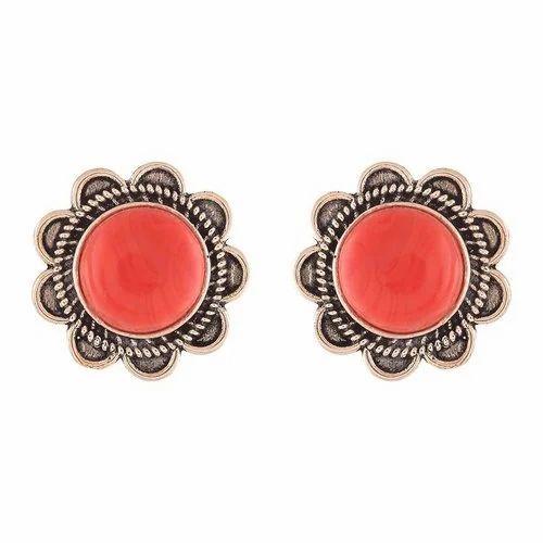 dbab5e6ba Ganapathy Red Stone Stud Earrings, Rs 300 /set, Ganapathy Gems And ...