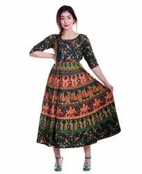 Jaipuri Print 3/4th Sleeves Attached Frock