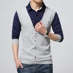 Plain Blue and Grey Formal Men's Shirt Attached Jacket, Handwash and Machine Wash, Size: S to XXL