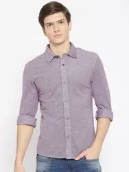 Men Cotton Pique Knit Full Sleeve Button Collar Shirt