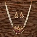 Brass Antique Classic Mangalsutra Set With Gold Plating 200260, Size: Length = 18 Inch
