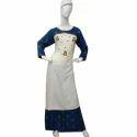 Round Neck Cotton Ladies Embroidered Kurti Palazzo Set