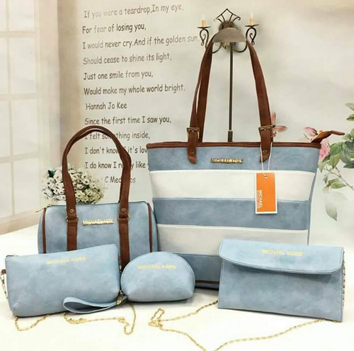 7d6c2b3edd56 Michael Kors 5 Combo Handbag Sky Blue Color