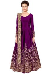 Magenta Silk Heavy Anarkali Suit