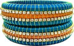 Sky Blue and Golden Silk Thread Bangle Set