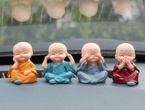 Multicolor Polyresin Interior Decor Baby Monk Statue