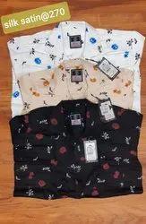 Casual Wear Printed Mens Floral Print Satin Silk Shirt, Size: 38-42