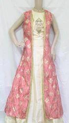 Sandal And Peach Combo Printed Sandal And Peach Raw Silk Designer Ready Made Dress