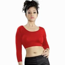 Abhi Stretchable Blended Fabric Hand Wash Blouse With Three Quarter Sleeves