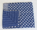 Kantha Indigo Printed Bed Cover