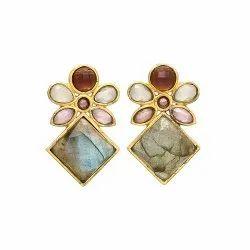 Multi Gemstone Designer Earring