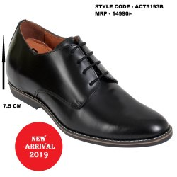 Black Formal Brush Off Glossy  Height Increasing Leather Shoes for Men