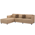 Wooden L Shape Cream Sofa