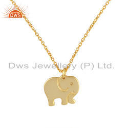 Indian Gold Plated Elephant Design 925 Plain Silver Pendant, Size: 16 Inch