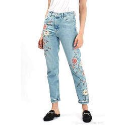 Ladies Regular Fit Denim Printed Jeans, Size: 30