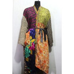 Woman's Vintage Silk Sari Kimono Bath Robe Dress