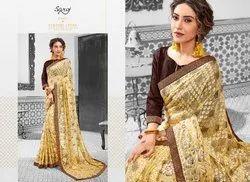 Designer Party Wear Golden Sarees