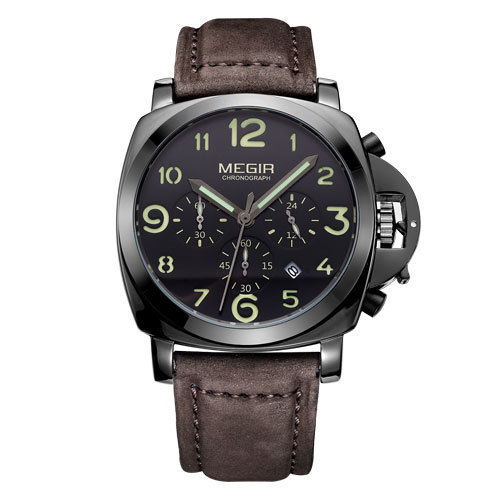 Megir 3406-black Analog-chronograph Watch For Men