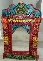 Hand Carved Wooden Jharokha with Elephant Design