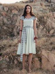 Vanilla White Cotton Printed Dress