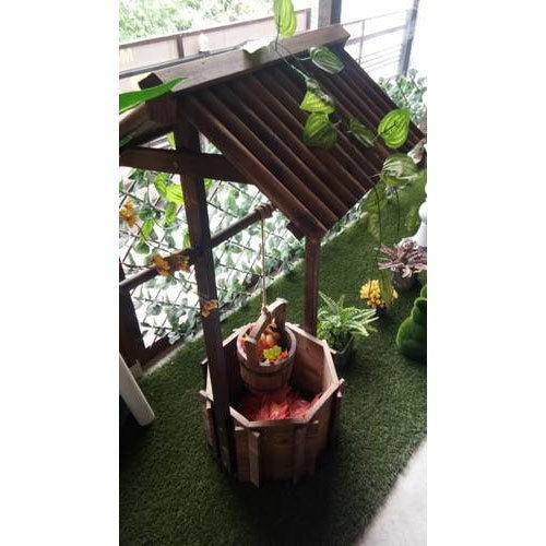 Brown Wooden Wishing Well Bucket Flower Planter Rs 2500 Piece Id