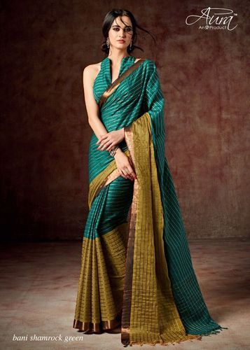 2a49b32cbe Green And Golden Border Cotton Silk Saree, With Blouse Piece, Rs 950 ...