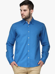 Men Linen WYM Blue Solid Regular Fit Casual Shirt