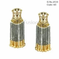 Ethnic Pearl Tassel Beaded Earrings