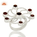 Natural Garnet Gemstone 925 Silver Cocktail Ring
