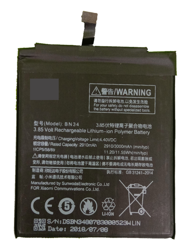 Premium Full Mah Battery Modal Bn34 For Xiaomi Mi Redmi 5a Proper 3000 Mah