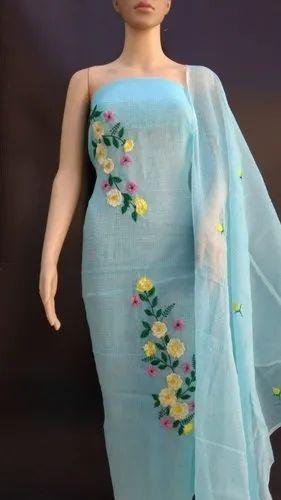 Blue Ladies Printed Suits Dress Material