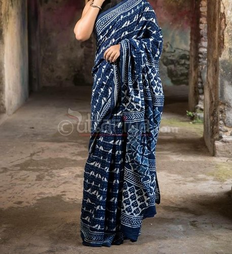 1304bb7278 Natural Indigo Dabu Cotton Hand Block Printed Soft Mulmal Cotton Saree