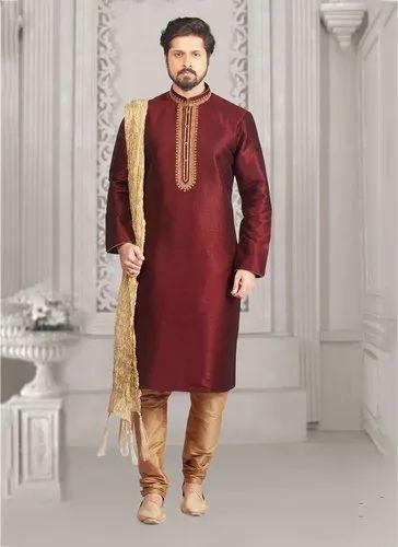 ac2a6b8634 Kesari Exports Party Wear Banarasi Silk Kurta Pajama Collection for Men