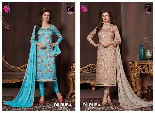 1e8cf7b5af Designer Ladies Suits - Khushika Printed Ladies Suits Manufacturer ...