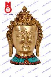 Lord Buddha Head Fine W/ Stone Work Statue